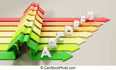 Energy levels with house shaped bars. 3D illustration
