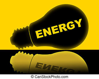 Energy Lightbulb Shows Power Source And Advertisement -...
