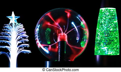 Energy lines move inside plasma ball and two decorative lamps by each side