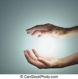Healing hands sensing energy