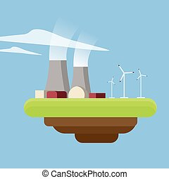 Energy or power generation sources. Nuclear power plant and wind turbines.