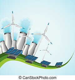 energy or power generation sources renewable solar and wind nuclear power plants