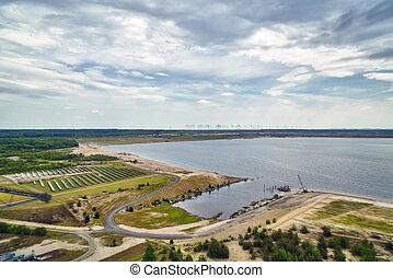 energy park: lignite, solar power plant and wind turbines