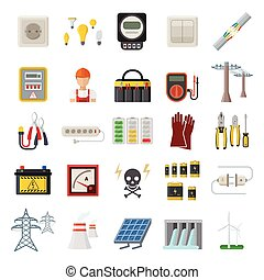 Energy power icons vector.