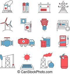 Energy power line icons set