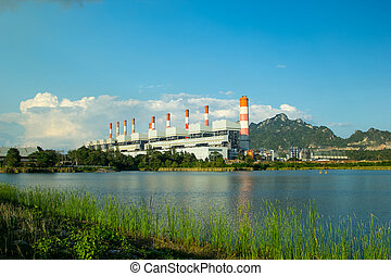 Energy power plant with blue sky.