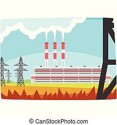 Energy producing station, electricity generation plant horizontal vector illustration