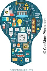 Worldwide sustainable energy production transmission and consumption network concept bulb shape pictograms composition poster abstract vector illustration