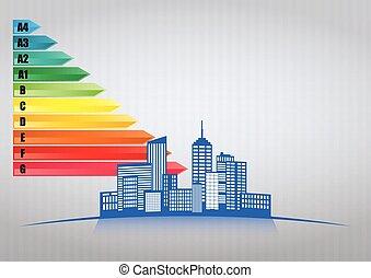 energy range urban - illustration of urban skyline with...