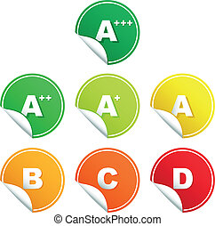 Energy rating class stickers - A set of energy efficiency ...
