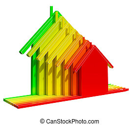 Energy Rating House Shows Efficiency 3d Illustration