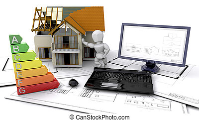 3D energy ratings of a house in construction