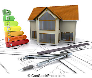 House with energy ratings on plans