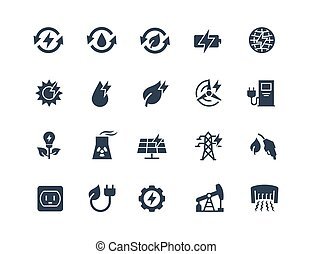 Energy Related Vector Icon Set in Glyph Style
