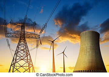 Energy resources concept - Nuclear power plant with wind...