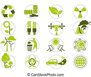 Energy saving and environmental protection icon set