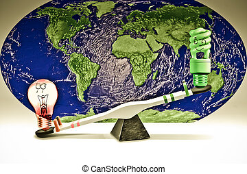 Energy Saving and Regular Light Bulbs on Seesaw, Saving energy concept