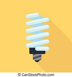 Energy saving bulb icon, flat style - Energy saving bulb...
