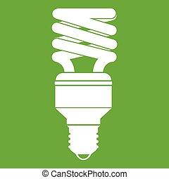 Energy saving bulb icon green