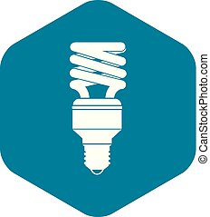 Energy saving bulb icon, simple style - Energy saving bulb...