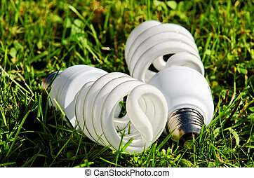 energy saving bulb on grass background