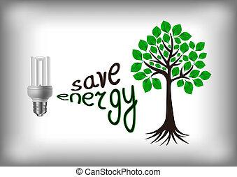 Energy saving bulb with green tree - Illustration of energy...