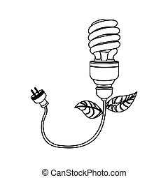 energy-saving bulbs with power cable icon