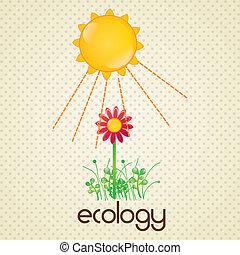 Energy Saving sun and red flower. Vector Illustration