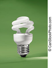 Energy saving compact fluorescent lamp on green background