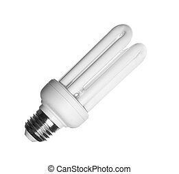 Energy saving compact fluorescent light bulb isolated