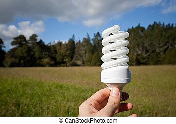 Energy saving concept - Energy saving light bulb with nature...