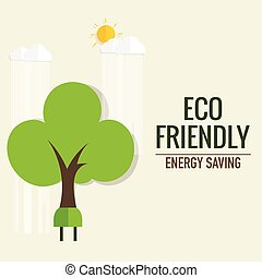 Energy saving concept with Trees.. Vector illustration