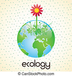 Energy Saving planet with red flower. On vintage background
