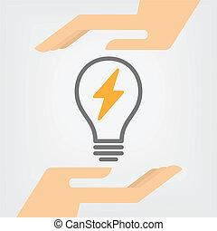 Energy Saving - Hands holding Energy Saving