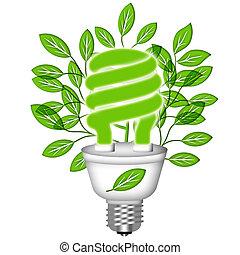 Energy Saving Eco Lightbulb with Green Leaves