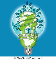 Energy Saving Eco Lightbulb with World Globe on Blue...