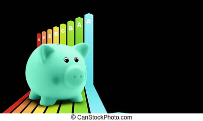 energy saving efficiency concept, arrows chart graph with piggy bank, certified savings class. building home rating classification. Alpha matte.