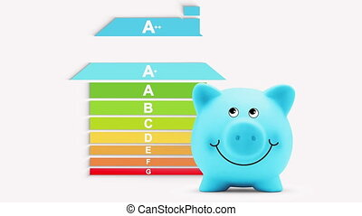 energy saving efficiency concept, house chart graph with piggy bank, certified savings class. building home rating classification. Alpha matte.