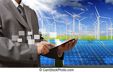 energy saving - engineer checking with tablet computer