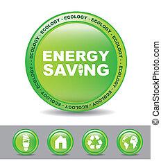 energy saving - green button energy button over white...