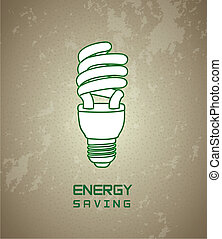 Energy saving over vintage background vector illustration