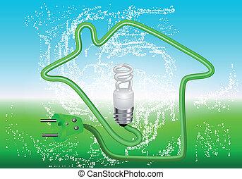 energy saving house. concept of the alternative energy