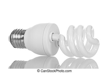 Energy-saving fluorescent lamp isolated on white.