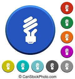 Energy saving fluorescent light bulb beveled buttons