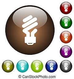 Energy saving fluorescent light bulb color glass buttons