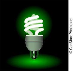 Energy saving fluorescent light bulb - editable vector