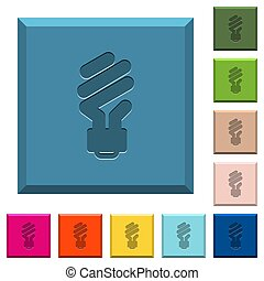 Energy saving fluorescent light bulb engraved icons on edged square buttons