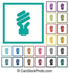 Energy saving fluorescent light bulb flat color icons with quadrant frames