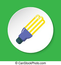 Energy saving fluorescent light bulb flat icon on round button