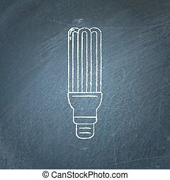 Energy saving fluorescent light bulb icon chalkboard sketch